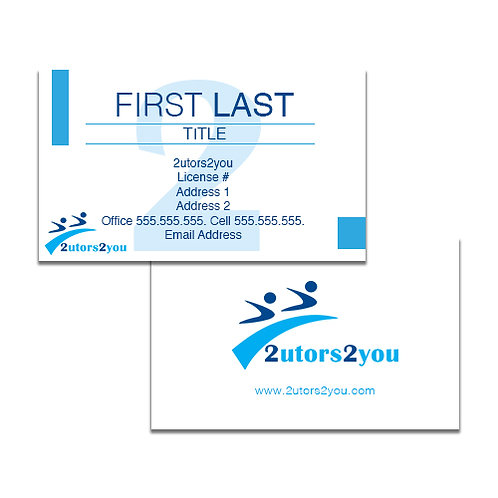White Business Cards '2utors2you'