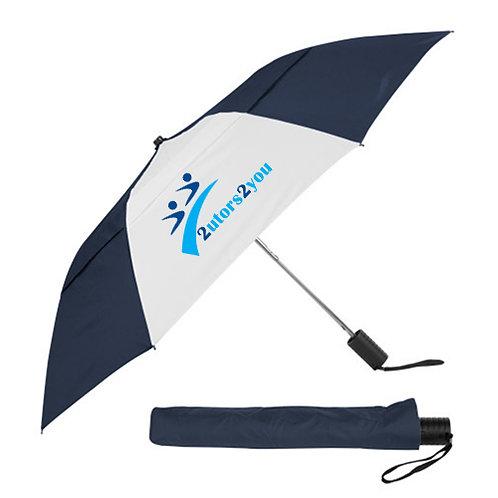 42 Inch Slim Stick Navy/White Vented Umbrella '2utors2you'