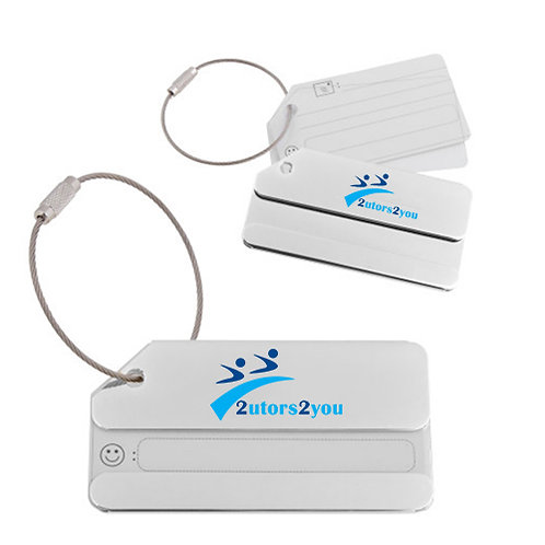 Silver Luggage Tag '2utors2you Engraved'