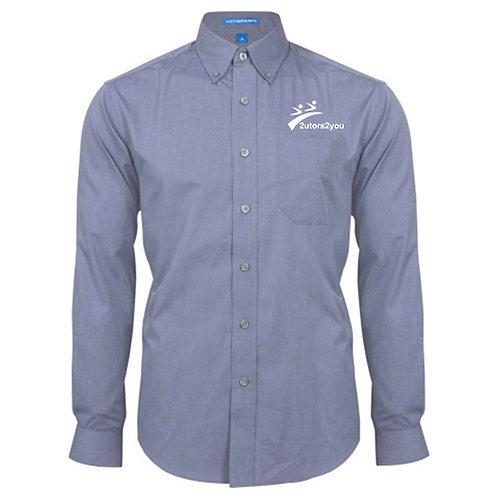 Light Blue Crosshatch Poplin Long Sleeve Shirt '2utors2you'