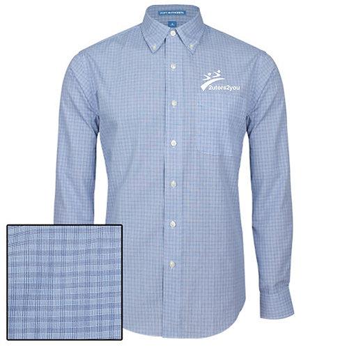 Navy Plaid Pattern Long Sleeve Shirt '2utors2you'