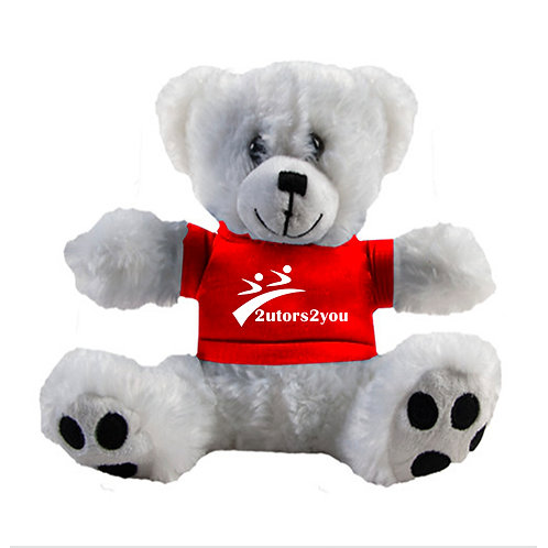 Plush Big Paw 8 1/2 inch White Bear w/Red Shirt '2utors2you'