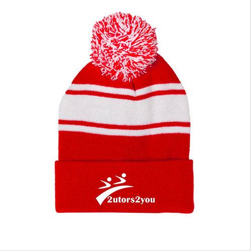 Red/White Two Tone Knit Pom Beanie w/Cuff '2utors2you'