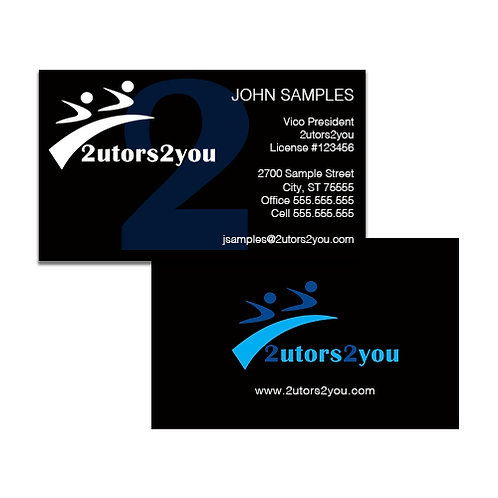 Black Business Cards '2utors2you'