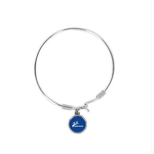 Silver Bangle Bracelet With Round Pendant '2utors2you'