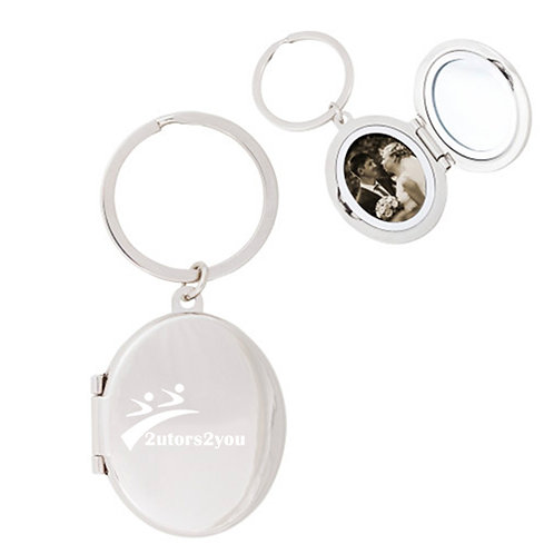Silver Oval Locket Key Holder With Mirror '2utors2you'