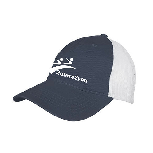 Steel Blue/White Mesh Back Unstructured Low Profile Hat '2utors2you'