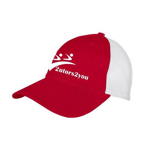 Red/White Mesh Back Unstructured Low Profile Hat '2utors2you'