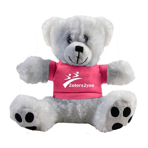 Plush Big Paw 8 1/2 inch White Bear w/Pink Shirt '2utors2you'