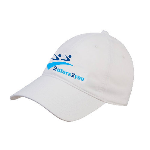 White Twill Unstructured Low Profile Hat '2utors2you'