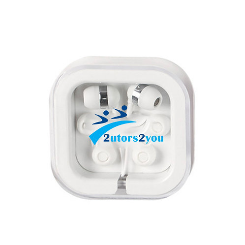 Ear Buds in Clear Square Case '2utors2you'