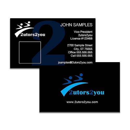 Black Business Cards w/Photo '2utors2you'