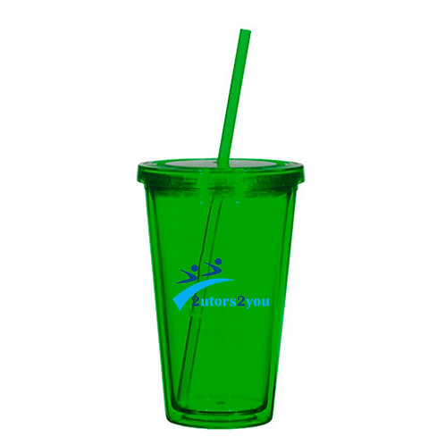 Madison Double Wall Green Tumbler w/Straw 16oz '2utors2you'