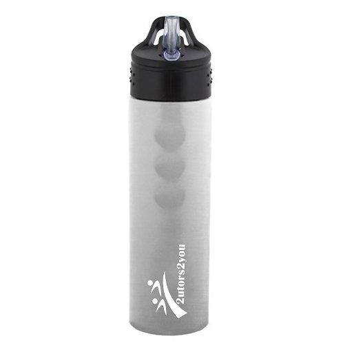 Stainless Steel Silver Grip Water Bottle 24oz '2utors2you'