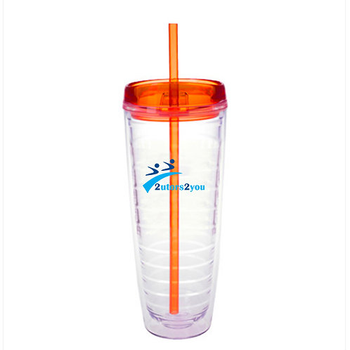 Tritan Double Wall Tumbler w/Orange Top 26oz '2utors2you'