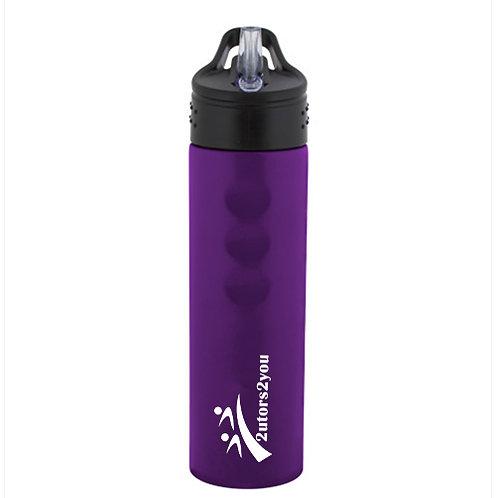 Stainless Steel Purple Grip Water Bottle 24oz '2utors2you'