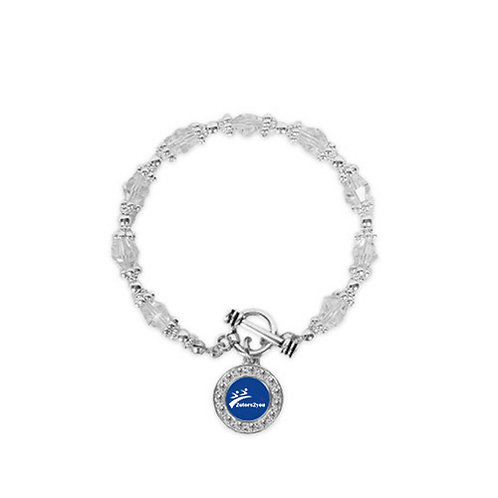 Crystal Jewel Toggle Bracelet with Round Pendant '2utors2you'