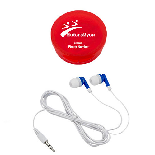 Ear Buds in Red Case '2utors2you, Personalized'