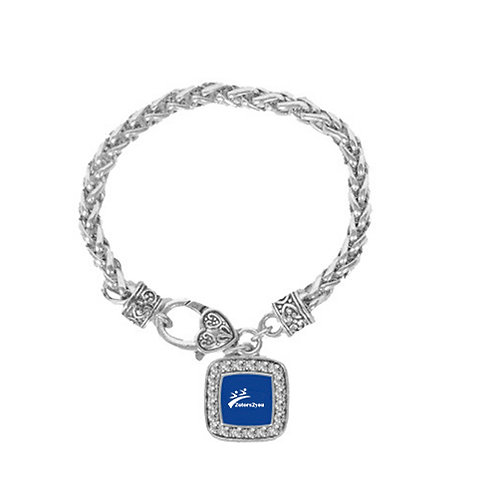 Silver Braided Rope Bracelet With Crystal Studded Square Pendant '2utors2you'