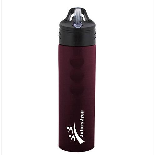 Stainless Steel Maroon Grip Water Bottle 24oz '2utors2you'