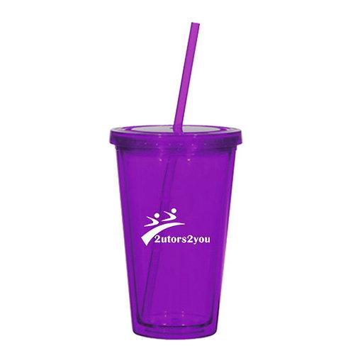 Madison Double Wall Purple Tumbler w/Straw 16oz '2utors2you'