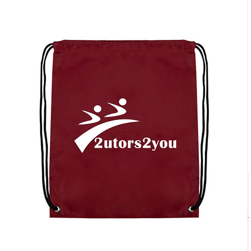 Maroon Drawstring Backpack '2utors2you'