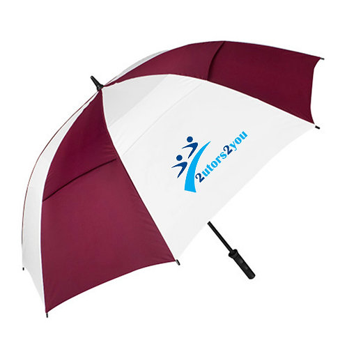 Maroon/White Umbrella '2utors2you'