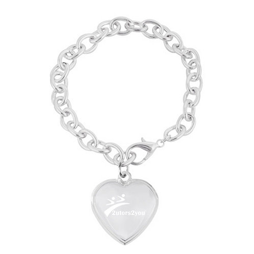 Silver Chain Link Bracelet with Heart Charmor '2utors2you'