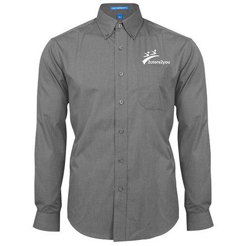 Dark Charcoal Crosshatch Poplin Long Sleeve Shirt '2utors2you'