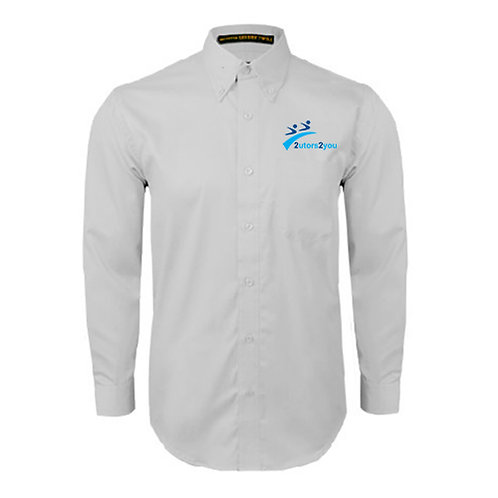 White Twill Button Down Long Sleeve '2utors2you'