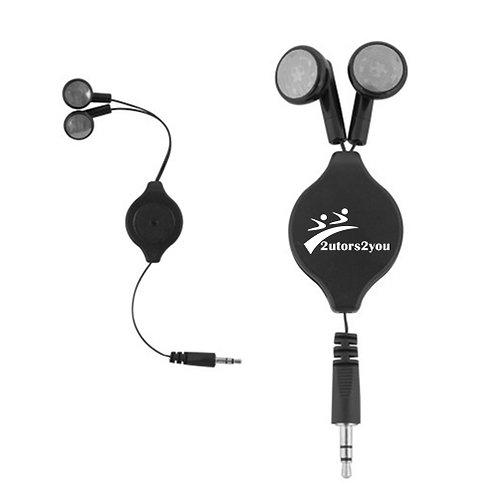 Black Retractable Ear Buds '2utors2you'