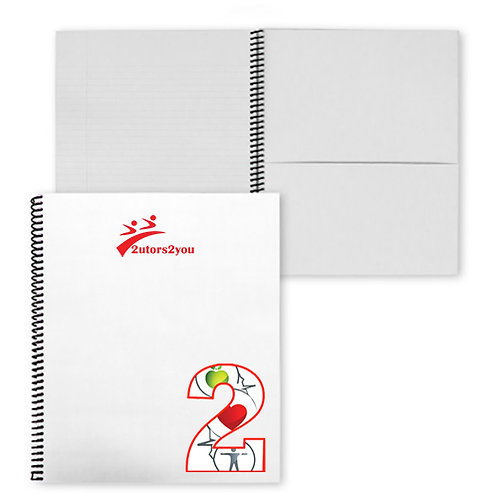 College Spiral Notebook w/Black Coil '2utors2you Health'