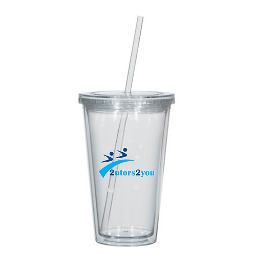 Madison Double Wall Clear Tumbler w/Straw 16oz '2utors2you'