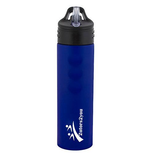 Stainless Steel Blue Grip Water Bottle 24oz '2utors2you'