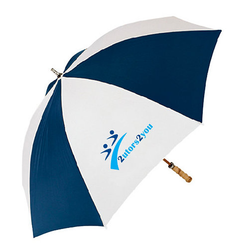 62 Inch Navy/White Umbrella '2utors2you'