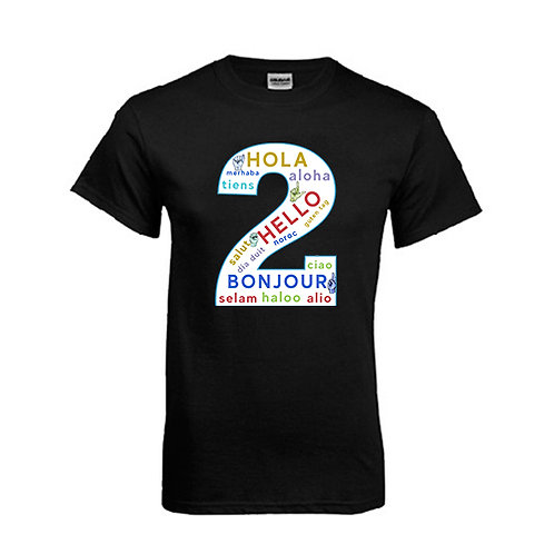 Black T Shirt '2utors2you Language'