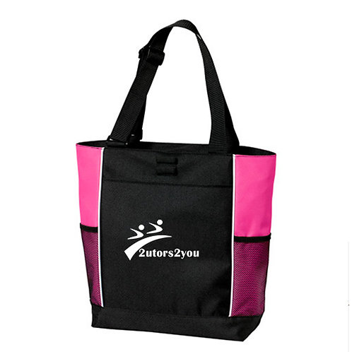 Black/Tropical Pink Panel Tote '2utors2you'