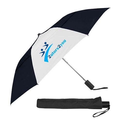 42 Inch Slim Stick Black/White Vented Umbrella '2utors2you'