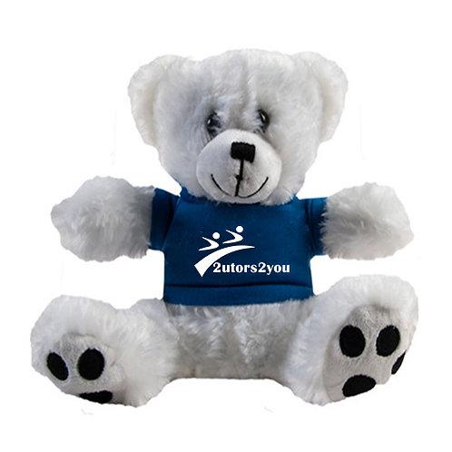 Plush Big Paw 8 1/2 inch White Bear w/Navy Shirt '2utors2you'
