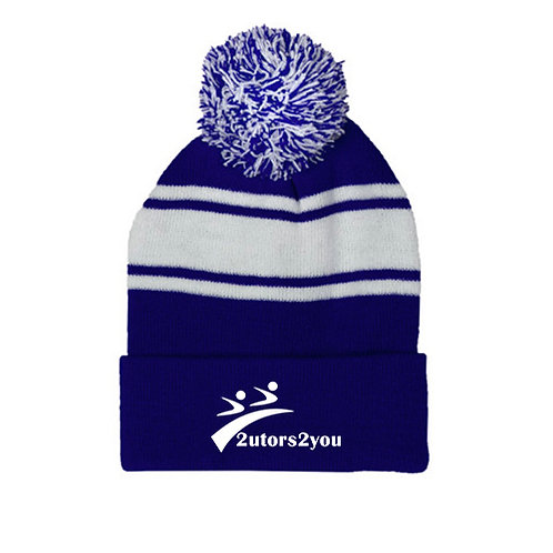 Royal/White Two Tone Knit Pom Beanie w/Cuff '2utors2you'