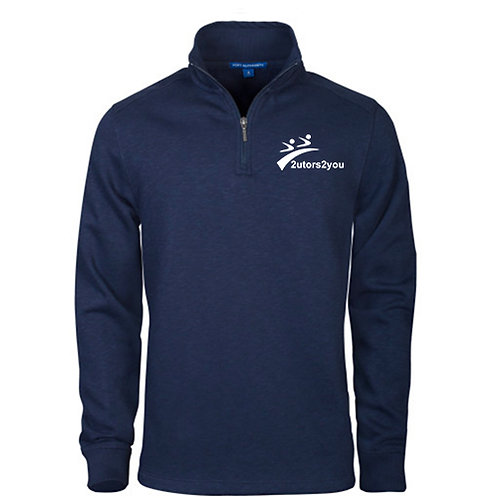 Navy Slub Fleece 1/4 Zip Pullover '2utors2you'