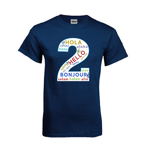 Navy T Shirt '2utors2you Language'