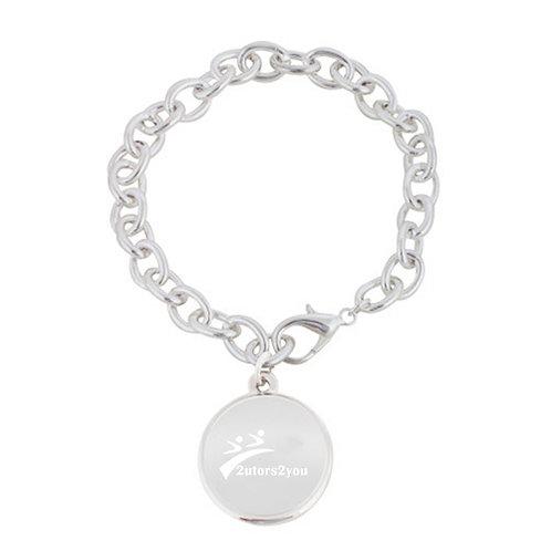 Silver Charm Bracelet with Round Charm '2utors2you'