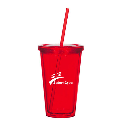 Madison Double Wall Red Tumbler w/Straw 16oz '2utors2you'