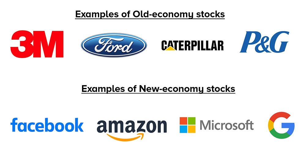 Examples of old economy stocks vs new economy stocks