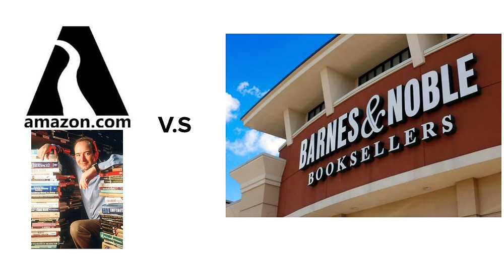 Amazon had to battle against giants like Barnes & Nobles when they first started in the book-selling space.