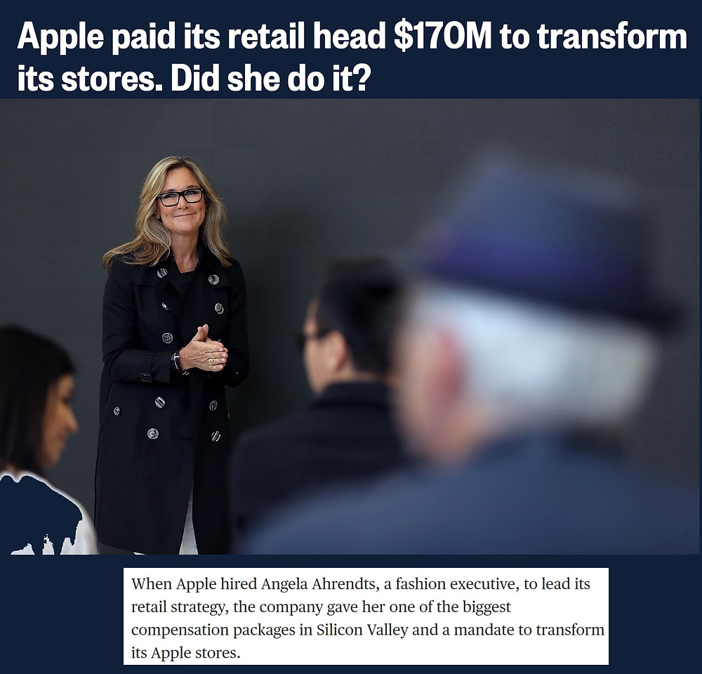 Angela Ahrendts the ex-CEO of Burberry, was hired as Apple's Retail Chief, and was compensated more than Apple's own CEO Tim Cook during that time.