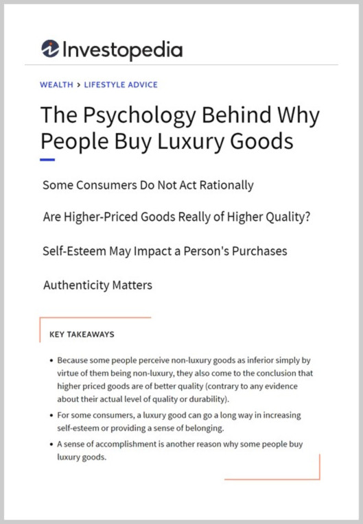 The psychology behind why people buy luxury goods [5]
