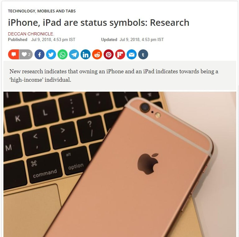 Apple's iPhones and iPads are status symbol products