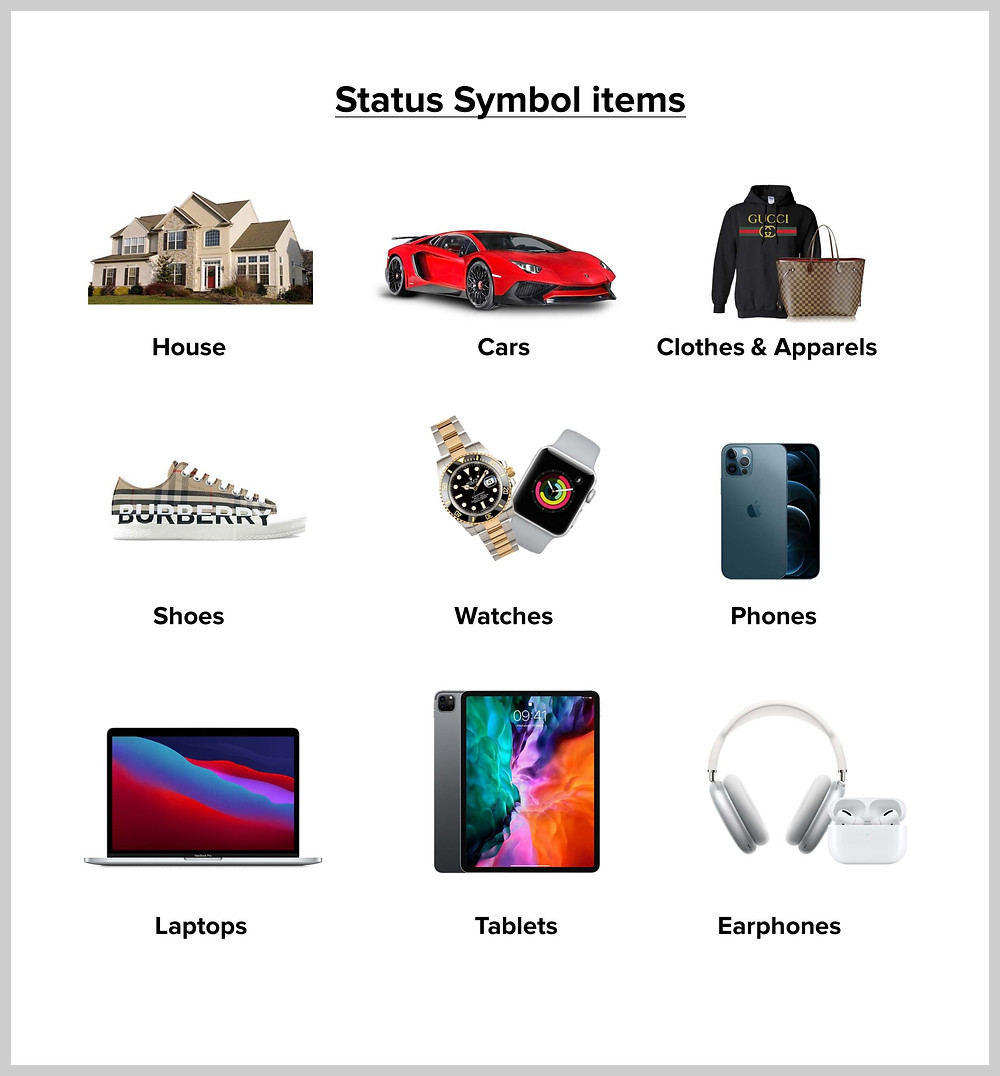 Examples of status symbol items we buy to show off our status